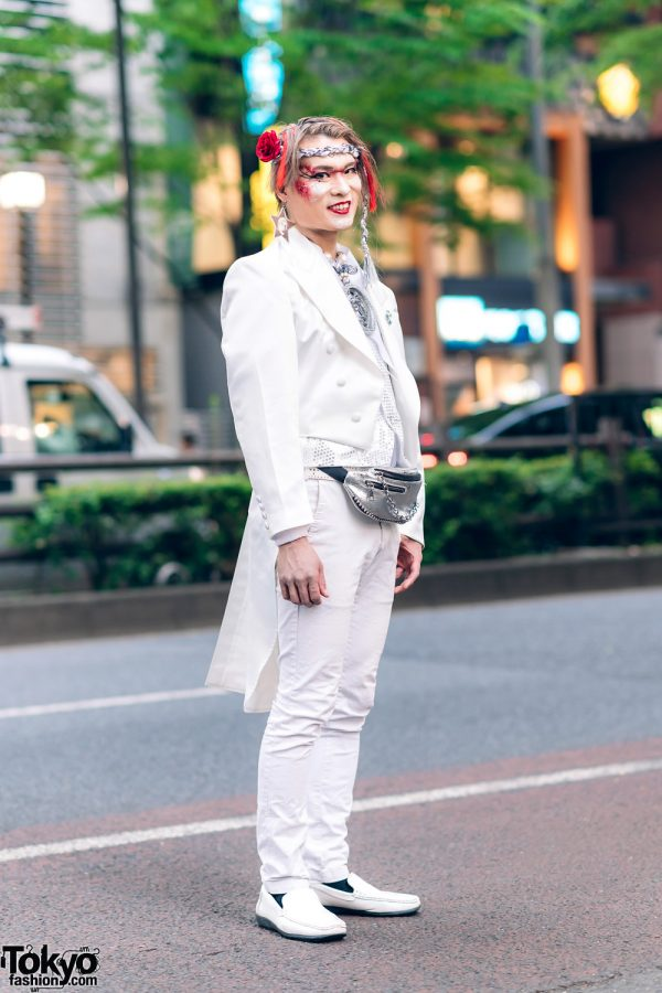Shibuya Fashion Walk Organizer's Streetwear Style w/ Red Feathers, Glitter Makeup, Tailcoat Tuxedo, Sequin Vest, Medallion Necklace & Loafers