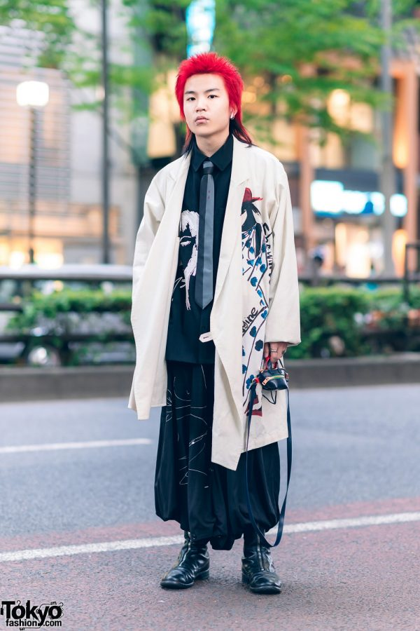 Yohji Yamamoto Tokyo Street Style w/ Red Mullet Hairstyle, Painted Coat, Sacai Bag & Guidi Zipper Boots