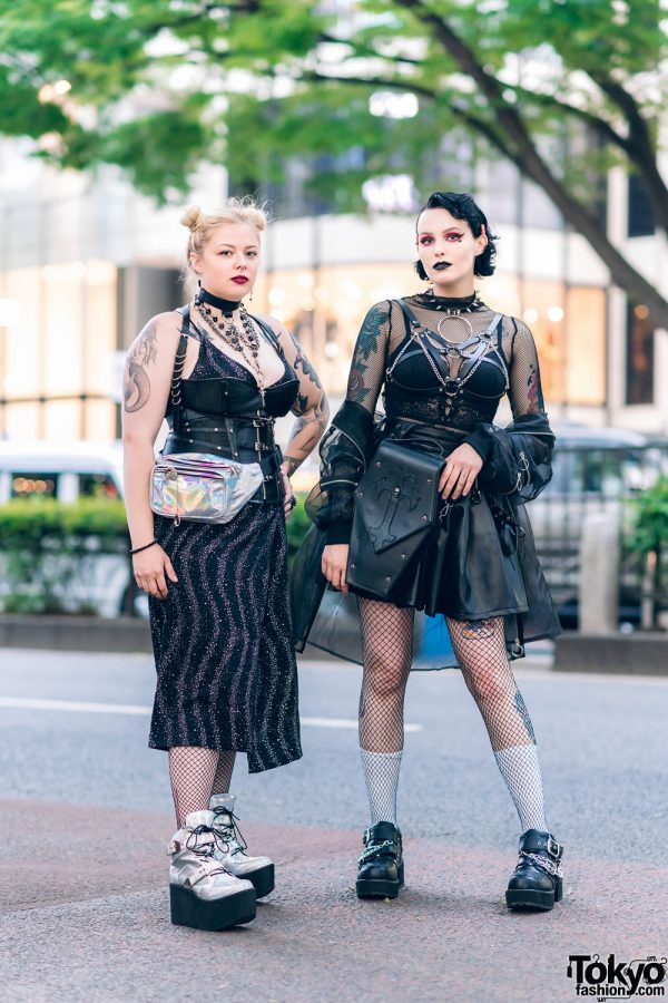 Tokyo Monochrome Streetwear Styles w/ Twin Blonde Buns, Disturbia Clothing Dress, Audrey And John Wad, Drug Honey, Romantic Standard Top, Listen Flavor & Out Of The World Platforms