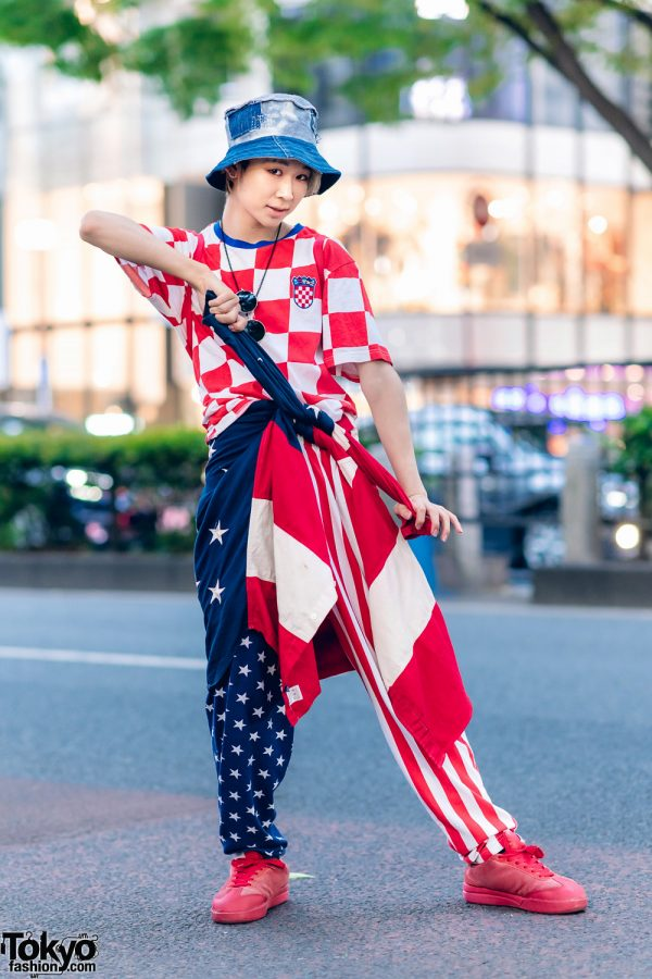 Japanese Dancer's Red, White & Blue Harajuku Street Style w/ Denim Bucket Hat, Tommy Hilfiger Jacket, Croatia Soccer Jersey, Stars & Stripes Pants, M&Ms Backpack & Ice Cream Sneakers