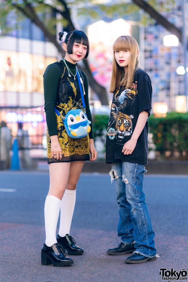 Harajuku Girls w/ Twin Buns, Uniqlo, Kinji Baroque Dress, Zara, (ME)Harajuku, D&G, Pokemon Bag, Ripped Jeans & GU Boots