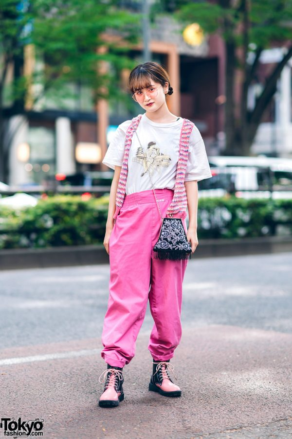 Pink Tokyo Street Style w/ Braided Buns, Pink Glasses, Knit Vest, Printed Shirt, Cherokee Cuffed Pants, Fringed Bag & Yosuke Two-Tone Boots