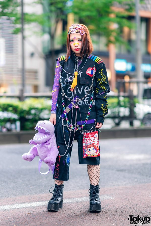 Remake Streetwear Style in Harajuku w/ Decora Hair Clips, Hand Painted Jumpsuit, Dinosaur Bag & Platform Boots