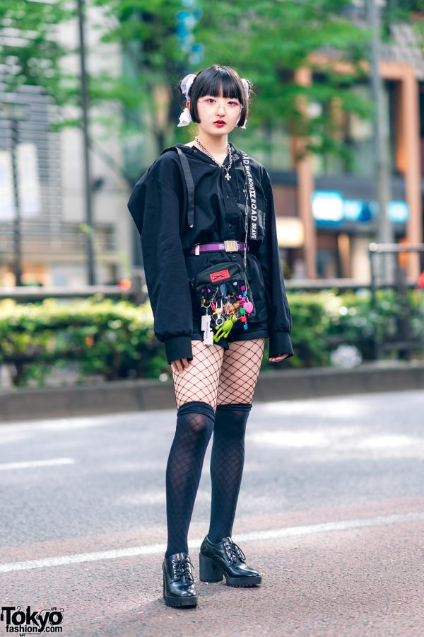All Black Tokyo Street Style w/ Twin Buns Hairstyle, Zara Hoodie Shirt, Cuffed Shorts, Fishnets, Pokemon, Kinji, MilkFed Bag & Pointy Ankle Boots