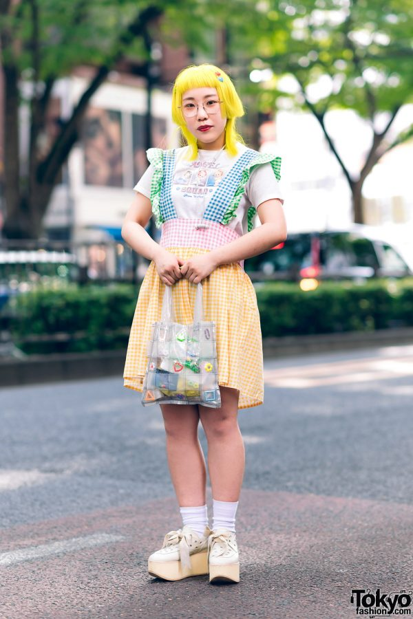 Colorful Harajuku Style w/ Yellow Hair, Angel Squad T-Shirt, Handmade Gingham Jumperskirt, Yuriko Eto Bag & Tokyo Bopper Bow Shoes