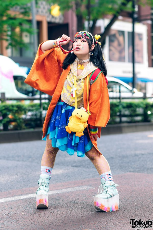 Colorful Harajuku Streetwear Style w/ Twin Tails, Decora Hair Clips, Resale Kimono, Dempagumi.inc Floral Top, Handkerchief Glitter Skirt, Ladybug Backpack & Yosuke Mint Platform Sneakers