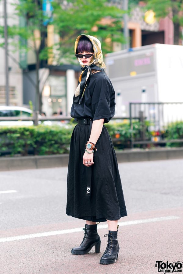 All Black Harajuku Street Style w/ Purple Hair, Silk Headscarf, Cat Eye Sunglasses, Hare T-Shirt, Lowrys Farm, & Dr. Martens Heeled Boots