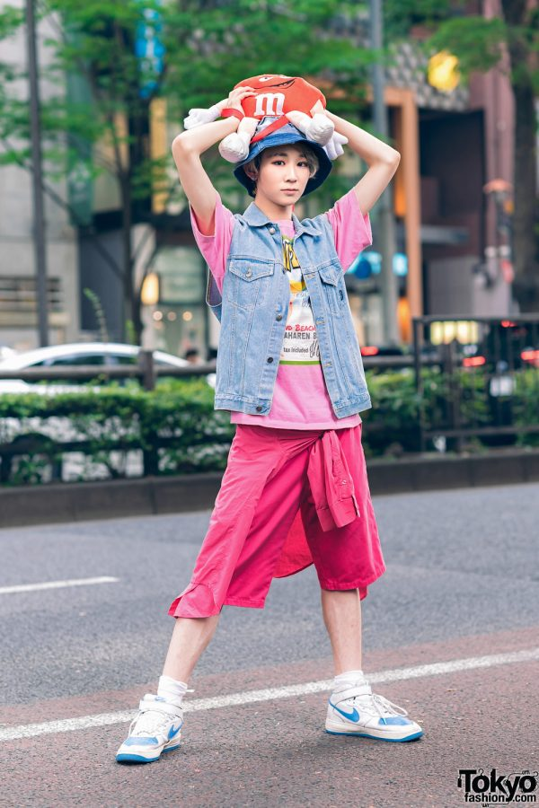 Denim & Pink Streetwear Style in Harajuku w/ Ash Grey Hair, Vintage Print T-Shirt, Dickies Long Shorts, Disney Denim Vest, M&Ms Backpack & Nike Sneakers