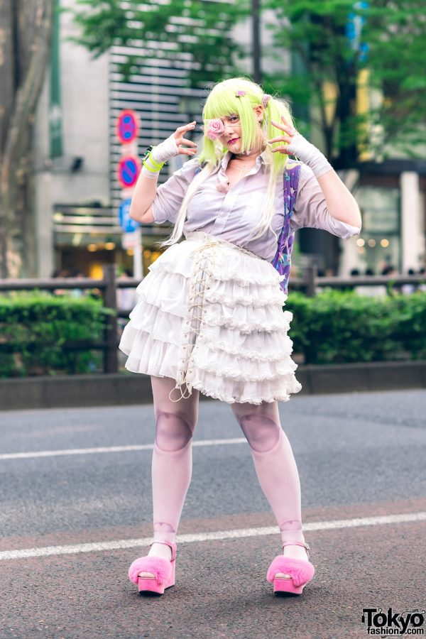 Harajuku Style w/ Twin Neon Tails, Rose Eye Patch, Bodyline Ruffle Skirt, Ali Express Sheer Tights, Kiki2 Backpack, Daiso, Aika Electronics Bracelet & Furry Sandals
