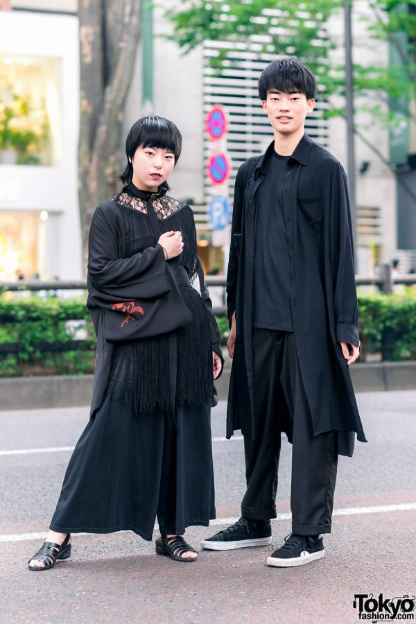 All Black Layered & Minimalist Street Styles w/ Embroidered Kimono, Kinji Fringe Dress, 3 Coins, Yohji Yamamoto, Dulcamara, GGO, Mei, Slingback Sandals & Suede Sneakers