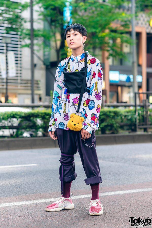 Japanese Streetwear Fashion w/ Floral Print Top, Remake Belt, Winnie The Pooh, Redbull & Adidas Sneakers