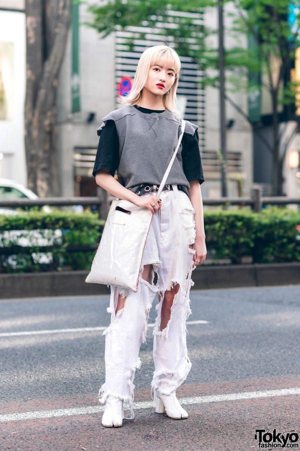 White Ripped Jeans Harajuku Street Style w/ MM6 Maison Margiela Shirts, Ikumi, Gucci &Maison Margiela Tabi Boots