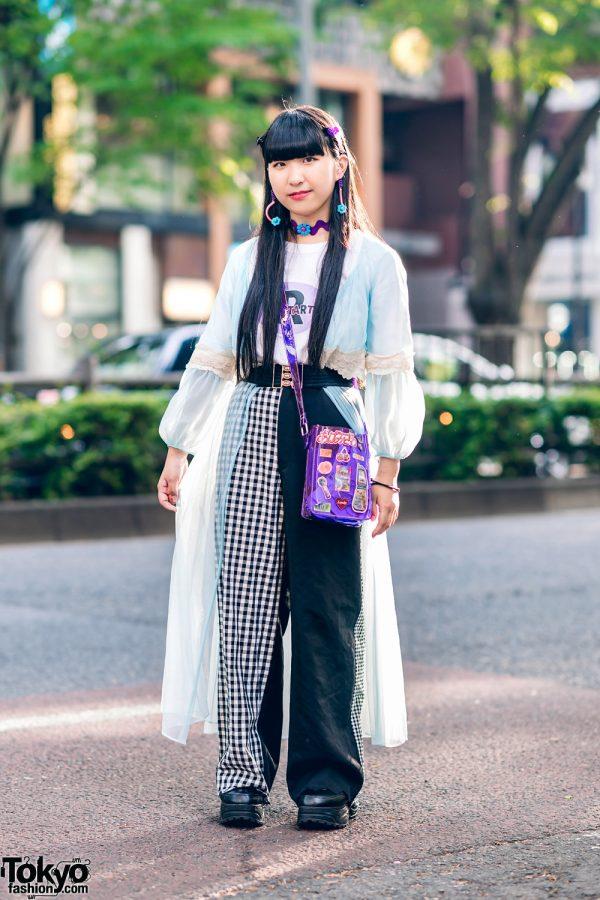 Harajuku Street Fashion w/ Long Hair, Kiki Sheer Robe, RRR Half Gingham Pants, WEGO Clear Bag & Yosuke Shoes