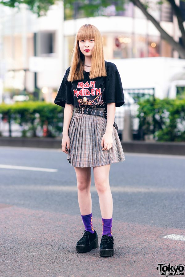 Harajuku Girl in Iron Maiden T-Shirt, Kinji, Spinns, Dinosaur Bag, Flame Socks & Creepers