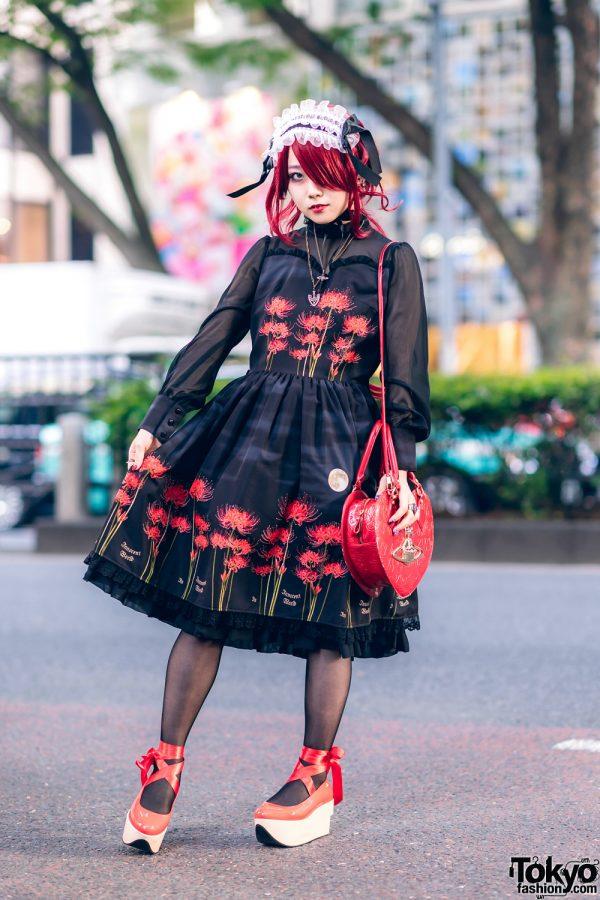 Japanese Idol in Harajuku Gothic Lolita Style w/ JoJo's Bizarre Adventure Necklace, Innocent World Dress, Heart Bag & Vivienne Westwood Rocking Horse Shoes