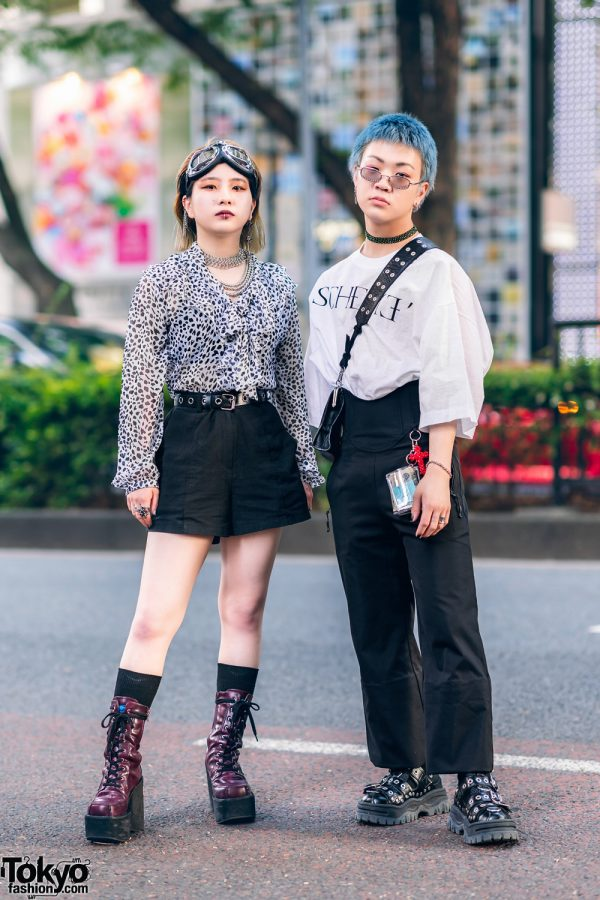 Japanese Teens' Casual Monochrome Styles w/ Goggles, Second Street Leopard Blouse, Yosuke Purple Boots, John Lawrence Sullivan Shirt, Nodress High Waist Pants, Bigotre Bag, WEGO, Gallerie & Eytys Studded Shoes