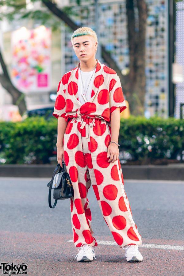 SASQUATCHfabrix Haori Street Style in Harajuku w/ Green Hair, Sun Print Setup, Ambush Lighter Necklace, Coach Bag & Nike Sneakers