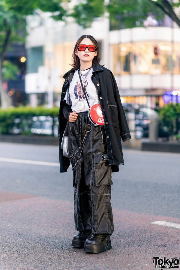 Tokyo Style w/ Red Sunglasses, Black Coat, Printed Shirt, Never Mind the XU, Alpen 1200 Sling Bag & Never Mind the XU Platforms