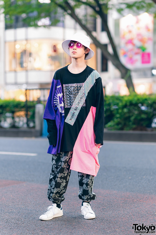 Casual Street Look In Harajuku W Bucket Hat Pink Sunglasses Codona De Moda Asymmetric Sweatshirt Paisley Print Pants Adidas Sneakers Tokyo Fashion