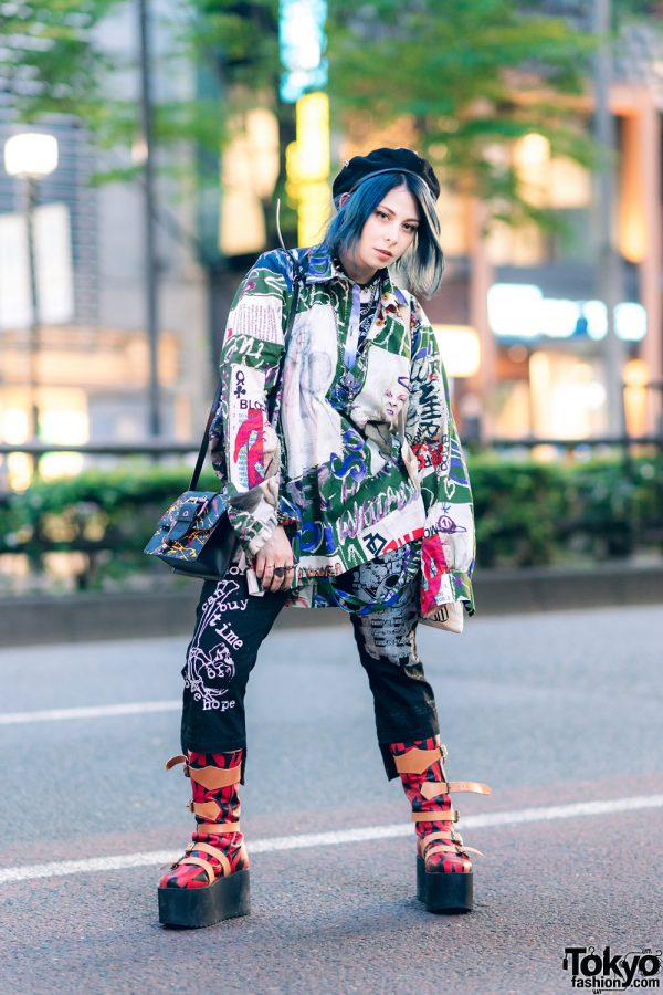 Japanese Pop Idol, Model & Cosplayer in Graphic Streetwear w/ Teal Hair, Hellcat Punks Beret, Tokyo Punkidz, H.Naoto & Vivienne Westwood x Buffalo Printed Platform Boots