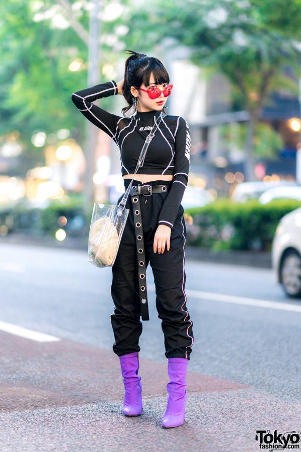 Japanese Idol In Kl Alien Crop Top Striped Track Pants