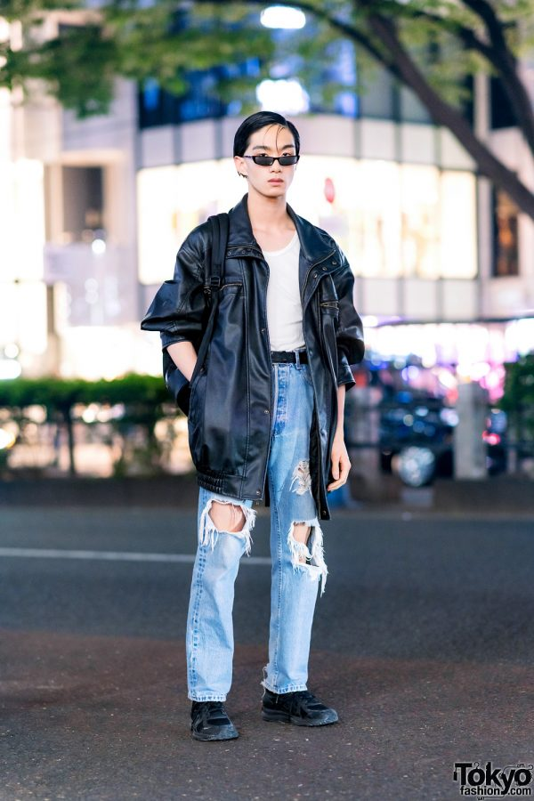 Harajuku Model's Casual Streetwear w/ Acne Studios Sunglasses, King Size Leather Jacket, N.Hoolywood, Levi's Ripped Jeans, Diesel Backpack & Asics Sneakers