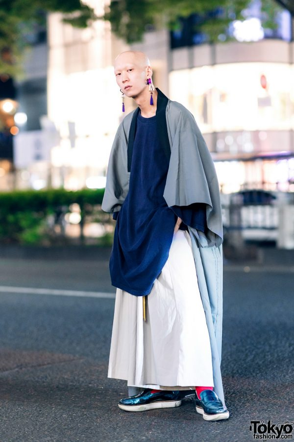 Japanese Rock Musician in Vintage Kimono Street Style w/ Tassel Earrings, Wide Leg Pants & Y-3 Loafers