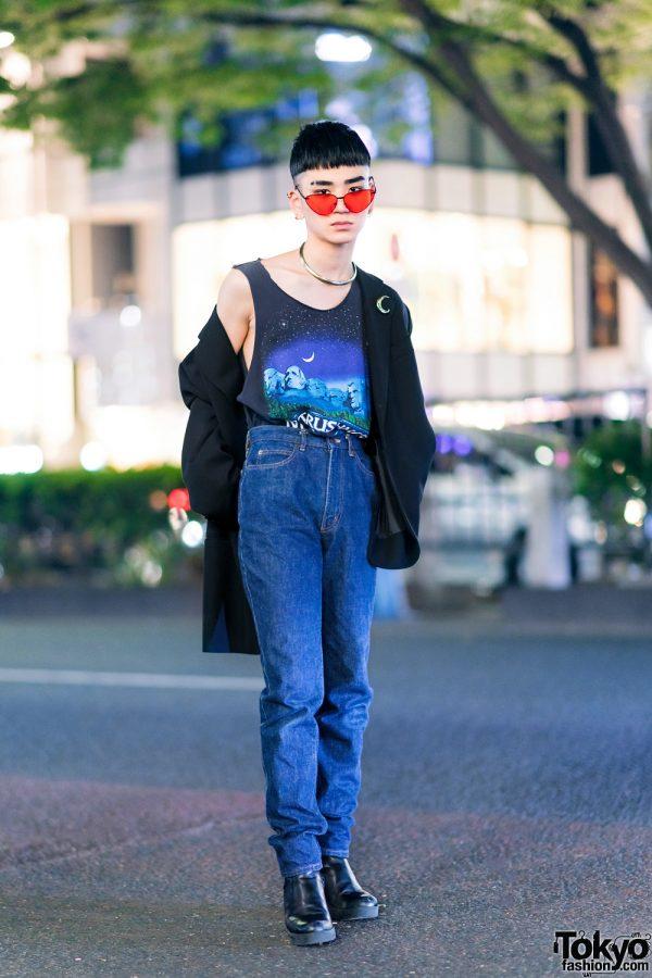 Harajuku Streetwear Style w/ Gold Collar, Giorgio Armani Blazer, Vintage Mt Rushmore Top, Kenzo Jeans & Heeled Boots