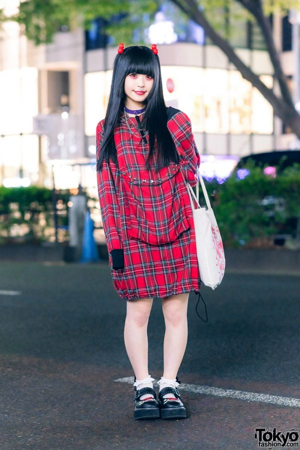 Harajuku Street Style w/ Red Contacts, Twin Tails, Glavil By tutuHA Leather Choker, Super Lovers Plaid Dress, Restrange Tote Bag & Demonia Skeleton Baby Doll Shoes