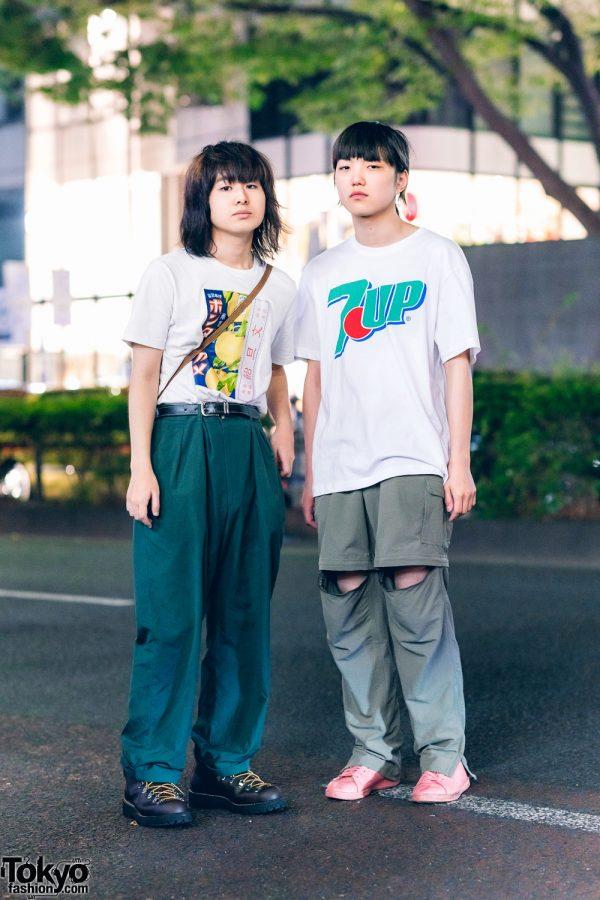 Casual Minimalist Streetwear Styles in Harajuku w/ Shaggy Hair, 7-UP Shirt, FILA Cuffed Pants, Zip-Off Pants, Reigen Arataka Leather Boots & Pink Sneakers