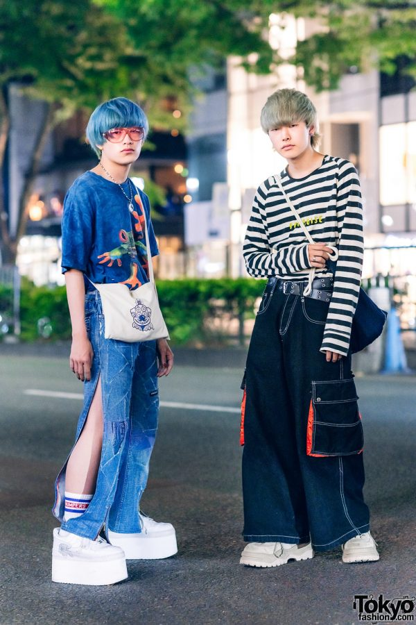 Japanese Street Fashion w/ Tie Dye Shirt, Mouse Slit Patchwork Jeans, Precious Junk Sling, Paul Smith Striped Sweatshirt, Wide Leg Jeans, Eytys & Nike Platform Sneakers