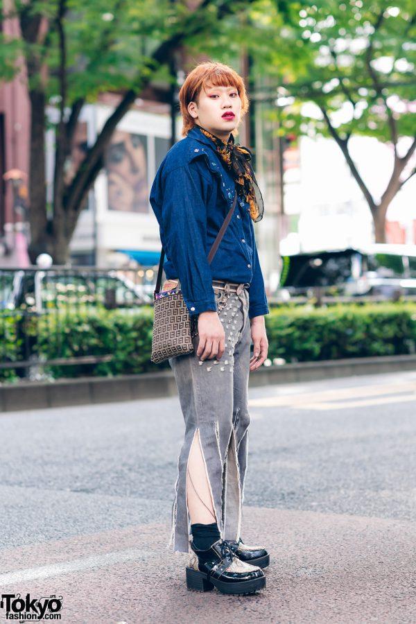 Harajuku Street Style w/ Red Hair, Printed Scarf, Denim Cowboy Shirt, Remake Fringed Jeans, Crossbody Bag & Yosuke Snakeskin Boots