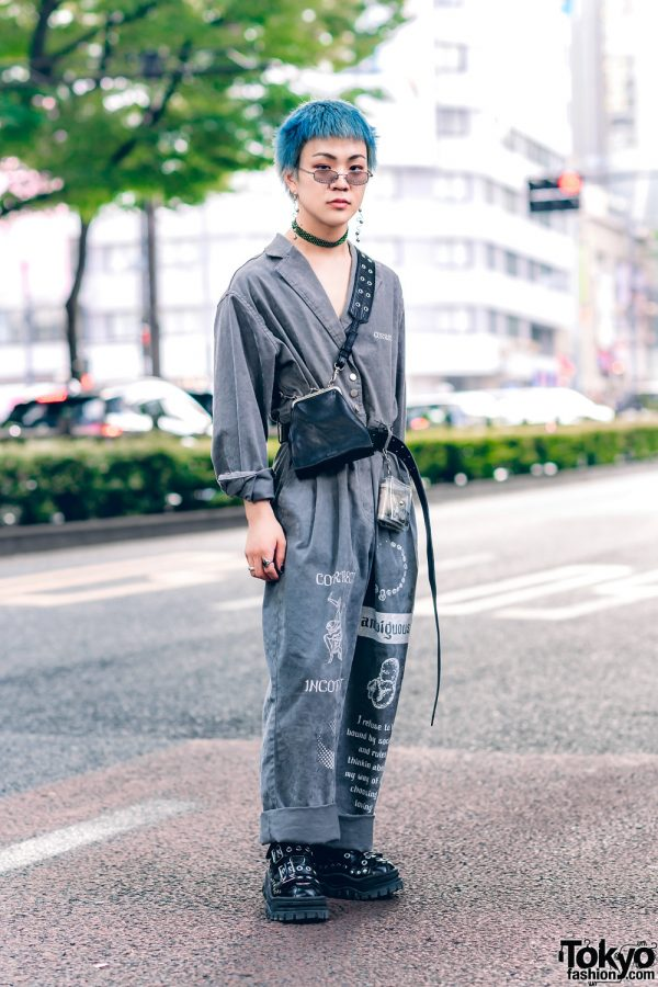 Japanese Street Style w/ Blue Hair, MYOB Cuffed Overalls, Gallerie, Bigotre Clasp Bag & Eytys Grommet Shoes
