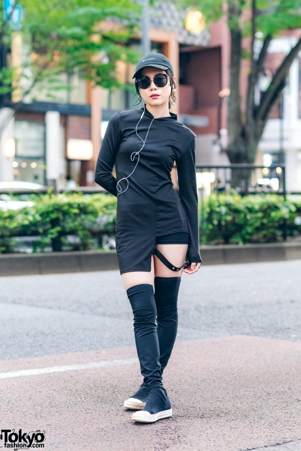 All Black Sporty Chic Style in Harajuku w/ Oversized Hoop Earrings, 24h Party Asymmetrical Strap Shirt, Champion Cap & Rick Owens Thigh High Sneakers