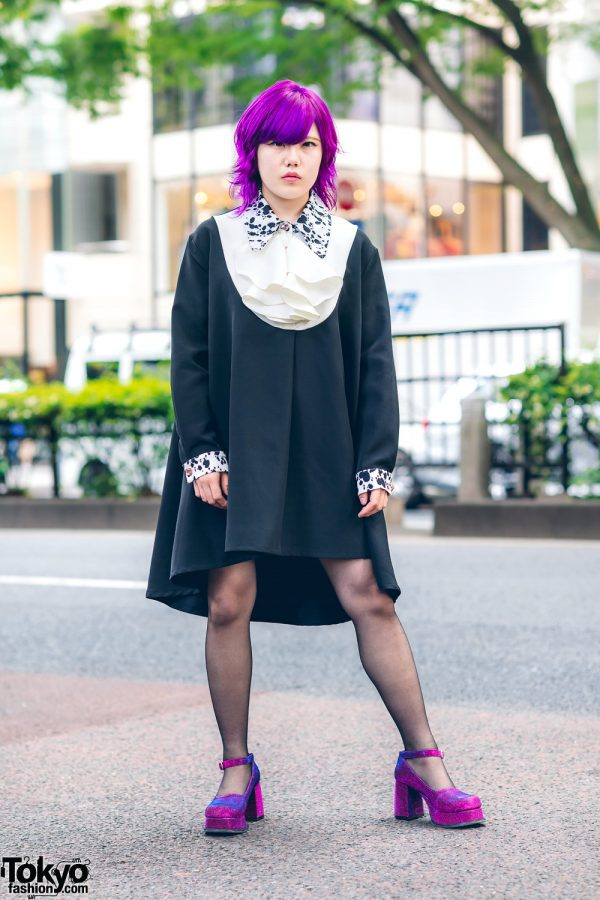 Purple Haired Harajuku Girl w/ Tongue Piercing, Sister Jane High Low Dress & Office Kiko Glitter Heeled Platforms