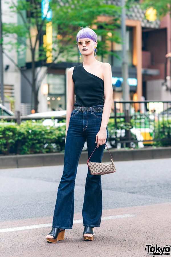 Japanese Fashion Model in Harajuku w/ Lavender Pixie Cut, UN3D Off Shoulder Top, Ungrid Jeans, Otope, Gucci & Rosebud Wedge Sandals