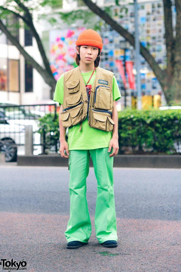 Harajuku Teen's Street Style w/ Orange Beanie, Utility Vest, Black Eye Patch, Flared Pants & Hawkins Suede Shoes