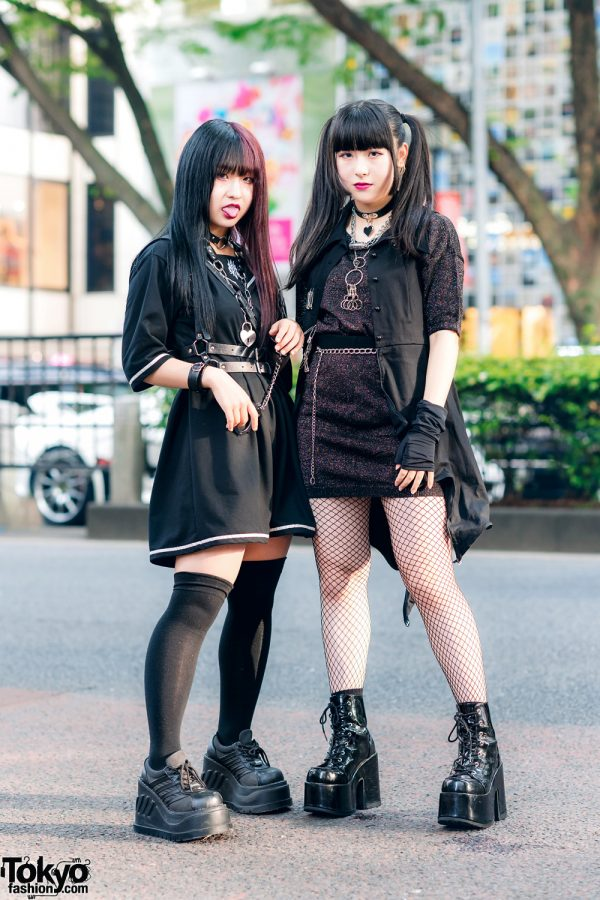 Harajuku Teen Girls Street Styles w/ Two-Tone Hair, Twin Tails, Leather Harness, Drug Honey Sailor Collar Dress, Glitter Sweater, Nyulycadelic, Kinji & Demonia