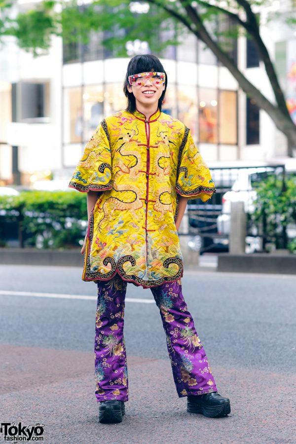 Tokyo Eclectic Streetwear Style w/ Heart Sunglasses, Dog Harajuku Mandarin Collar Top, Kobinai Satin Floral Print Pants & Yosuke Lace-Up Shoes