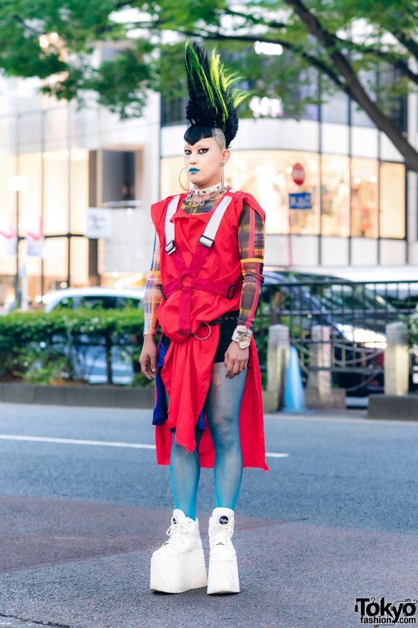 Vintage Fashion Buyer in Harajuku w/ Tall Mohawk Hair, Blue Lipstick, Heiligtum Shirt Dress, Fishnet Tights, Junya Watanabe Choker & Buffalo Platform Sneakers