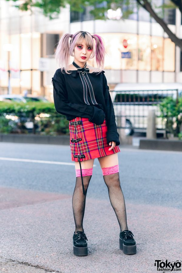 Heiligtum Remake Fashion Designer's Streetwear Look w/ Twin Tails, Zipper Bow Necklace, Jimsin Off-The-Shoulder Top, Plaid Skirt, Fishnet Socks & Underground Platform Creepers