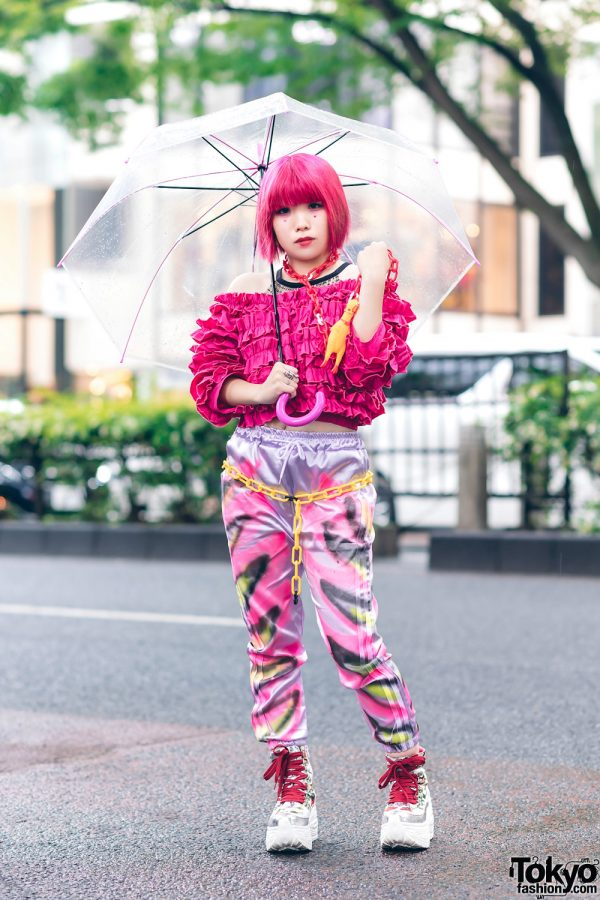 Pink Tokyo Fashion w/ Fringed Bob, Kobinai Off-The-Shoulder Ruffle Top, Graphic Print Satin Pants, 100-Yen Shop Chains & Yosuke Platform Sneakers