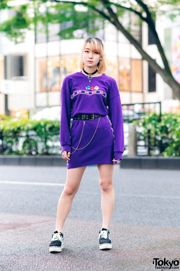 Harajuku Style w/ M&Ms Sweater Dress, Grommet Belt & Remake Suede Sneakers