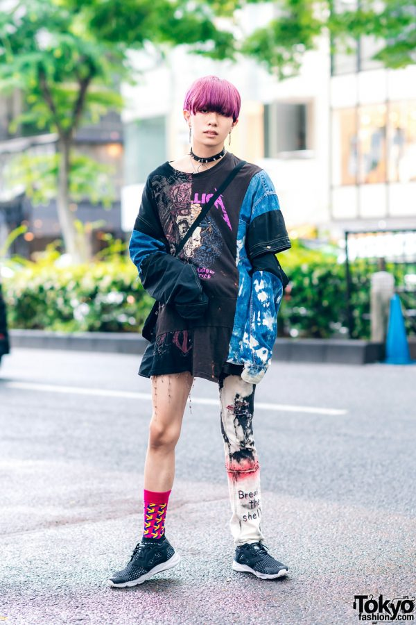 Japanese Asymmetrical Street Fashion w/ Purple Bob, Cote Mer Sweatshirt, One-Legged Jeans, Skull Bag & Reebok Sneakers