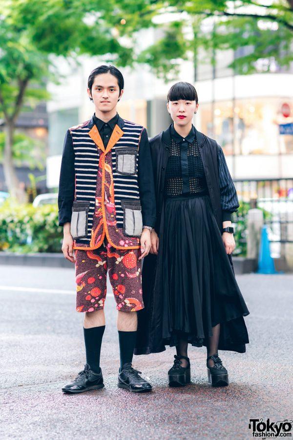 Sleek Japanese Streetwear Fashion w/ Comme des Garcons Homme Plus SS2010 Vest & Shorts, Uniqlo, CDG Coat, Net Shirt, Y's Maxi Skirt & Tokyo Bopper Shoes