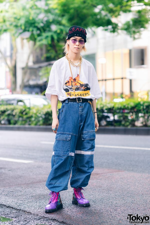 Casual Harajuku Street Style w/ Gold Bling Jewelry, AZS Tokyo Pain Flame Beanie, Pleasures T-Shirt, Marithe + Francois Girbaud, Chrome Hearts, Dog Harajuku, Nacht & Dr. Martens x New Order Boots