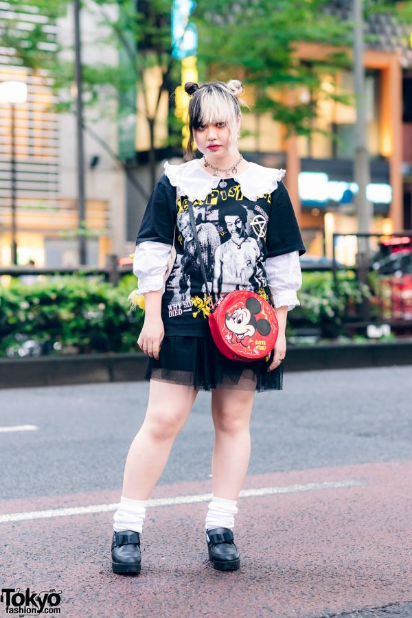Harajuku Girl Street Style w/ Twin Buns, Sex Pistols T-Shirt, Tulle Skirt, Peco Club, Mickey Mouse Bag & Heeled Bow Loafers