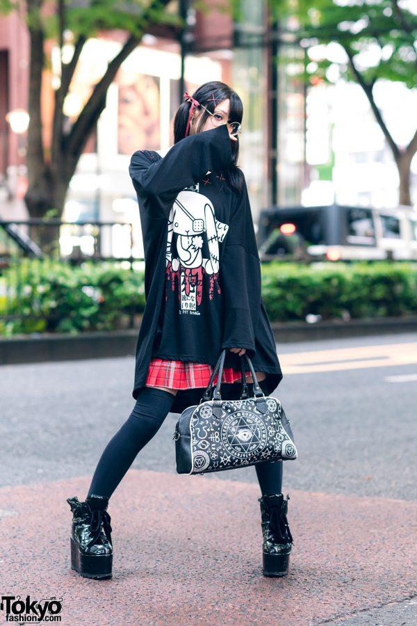 Monochrome Harajuku Streetwear w/ Twin Tails, Round Glasses, Civarize Choker, Sex Pot Revenge Flared Top, H&M Plaid Skirt, Ouija Board Bag & Killstar Platforms