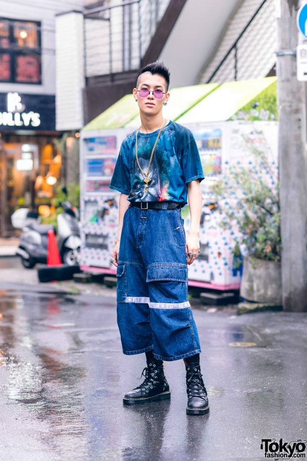 Casual Tokyo Street Style w/ Partially Shaved Hair, Tinted Glasses, Blingee Cross Necklace, Graphic Shirt, Marithe + Francois Girbaud, Dog Harajuku, Nacht & Dr. Martens Grommet Boots