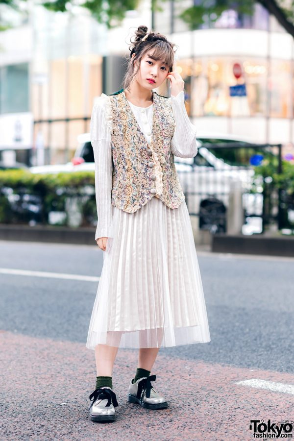 Chic Vintage Harajuku Street Style w/ Updo Hairstyle, Pleated Sheer Dress, Floral Brocade Vest & Vintage Lace-Up Bow Shoes